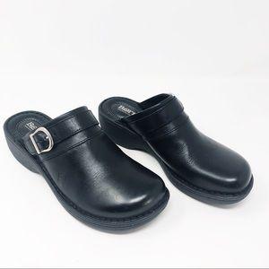 Born Black Leather Clogs Mules